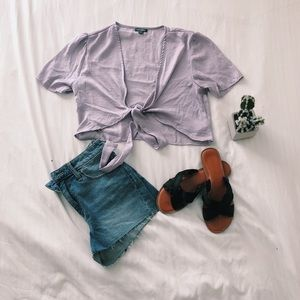 NWOT Wild Fable lilac tie-up top
